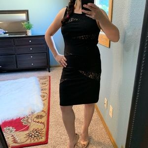 Bisou Bisou Black Lace with Nude Dress Size 10